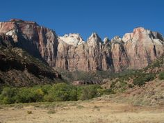 The Great West Temple and temples and towers of the Virgin, and Altar of Sacrifice above Oak Creek Canyon of Zion National Park, UT.  My former ranger dormitory is located just beyond the first grove of cottonwoods.
