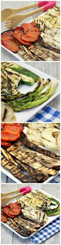 So much better than crudite! Grilled Vegetable Platter Low Calorie Low Fat Healthy Appetizer or Side Dish
