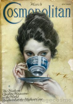 "Cosmopolitan magazine, MARCH 1917 Artist: ""Over the Teacup"" Harrison Fisher"