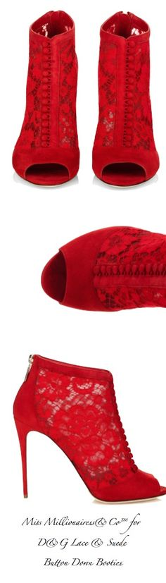 Dolce & Gabbana ~ Red Lace and Suede Button Up Peep-Toe Booties