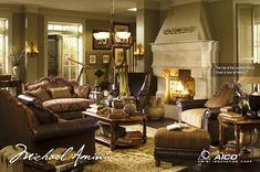 Sedgewicke Tudor Brown Finish Complete Living Room Set By Aico Michael Amini