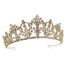 White and Gold Wedding Crown, Tiara. #gold 'princess 'wedding 'tiara. www.ayedo.co.uk Bridesmaid tiaras