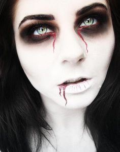 White face & black & bleeding eyes... x