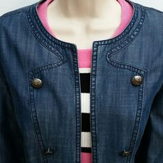 Coldwater Creek Open Front Denim Jacket Demin jacket w/ decorative buttons and stitching in front. Fully  lined and very soft. Sleeves can be worn rolled up or down. PLEASE note the buttons are for decoration only.  Excellent condition. Size 12 Coldwater Creek Jackets & Coats Jean Jackets