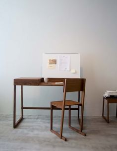 Marina Bautier  De La Espada (UK), 2007 Wood writing desk, with steel lid serving as notice board.