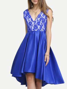 Buy it now. Blue Plunge V Back Pleated  Dress. Blue Party Polyester V Neck Sleeveless Shift Short Plain Fabric has no stretch Fall Skater Dresses. , vestidoinformal, casual, camiseta, playeros, informales, túnica, estilocamiseta, camisola, vestidodealgodón, vestidosdealgodón, verano, informal, playa, playero, capa, capas, vestidobabydoll, camisole, túnica, shift, pleat, pleated, drape, t-shape, daisy, foldedshoulder, summer, loosefit, tunictop, swing, day, offtheshoulder, smock, print, pr...