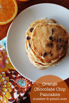 Orange Chocolate Chip Pancakes! YUM!