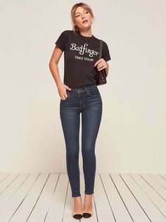 Introducing Reformation Jeans. This is a high rise, stretch jean with a skinny leg.