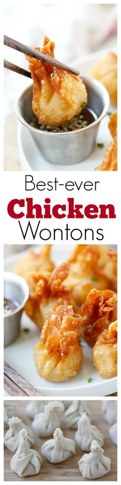 Chicken wontons easiest and the best fried chicken wontons ever! takes 20 mins including wrapping super crispy yummy creamy spinach bites easy recipe! Appetizer Recipes, Yummy Recipes, Great Recipes, Cooking Recipes, Favorite Recipes, Recipies, Wonton Recipes, Recipe Tasty, Eggroll Wrapper Recipes