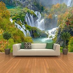 azutura Croatia Waterfall Wall Mural Green Landscape Photo Wallpaper Bedroom Home Decor Available in 8 Sizes Gigantic Digital 3d Wallpaper Ceiling, Ceiling Murals, Floor Murals, 3d Wall Murals, Wallpaper Decor, Photo Wallpaper, Photo Mural, Decoration, Home Decor