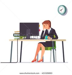 Business woman or an accountant in a suit fell asleep working on a laptop computer at her office desk. Flat style color modern vector illustration.