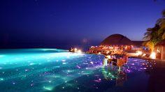 2048x1152 Wallpaper maldives, tropical, resort, evening