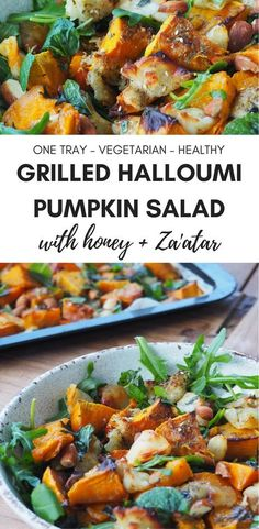 Delicious healthy grilled halloumi and pumpkin salad recipe with honey and za'atar. Perfect for meat-free Monday! Delicious healthy grilled halloumi and pumpkin salad recipe with honey and za'atar. Perfect for meat-free Monday! Healthy Appetizers, Easy Healthy Dinners, Healthy Dinner Recipes, Vegetarian Recipes, Autumn Recipes Healthy, Delicious Salad Recipes, Pumpkin Recipes Healthy Dinner, Healthy Salads, Vegetarian
