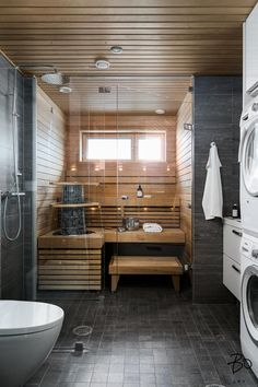 Bathroom Spa, Downstairs Bathroom, Laundry In Bathroom, Sauna Steam Room, Sauna Room, Diy Sauna, Spa Rooms, House Rooms, Basement Sauna