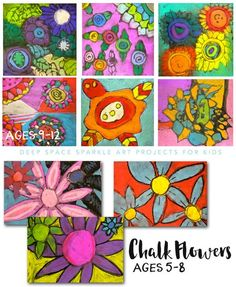 Easy chalk flowers art project for kids age 5-12.  Connect art project with Vincent Van Gogh art unit