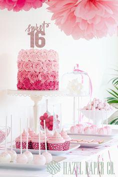 Dulces 16 XVI cumpleaños Glitter de la torta por hazelpapercompany