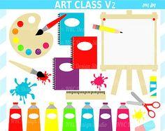 Art Clipart - School Clip Art - Art Class Clip Art V2 - Digital School Clipart - Paint, Notebooks, Easel, Scissors, Glue