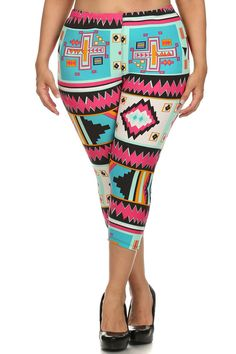 7a46a0a0bc6c06 Plus Size Colorful Aztec Print Capri Leggings – PLUSSIZEFIX White Capri  Leggings, White Pants,