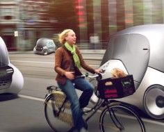 Futuristic concept car designed to coexist with bicycles.
