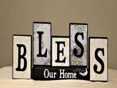 Bless Our Home Sign Home Decor Blocks by TimelessNotion on Etsy