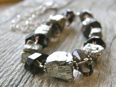 Rough Cut Pyrite and Smokey Quartz Necklace by RachelUngerJewelry