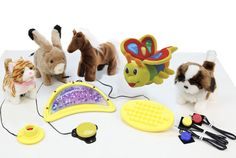 We put together a fantastic Plush Toy Kit so everyone can play together with the animals. The Kit includes five different plush toys along with seven different switches. The switches included in this kit can be used to work on specific goals. Watch the animals walk, talk, and make animal sounds. What fun!
