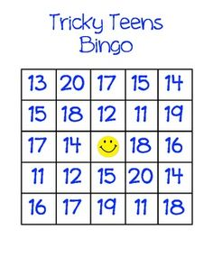 Here's a set of BINGO boards and calling cards for working on the numbers 11-20.