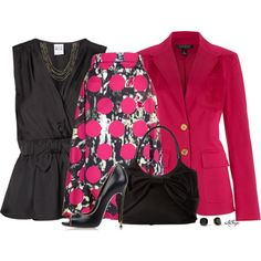 """""""Blazer, Polka Dots and Bows Contest"""" by kginger on Polyvore"""