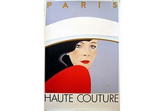 Paris is synonymous with haute couture. With a dash of red and a broad brim, artist Razzia captures the French flair for subtle style. Hand-signed by the artist.
