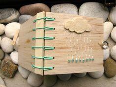 Mini Journal Rain Cloud, Secret Belgian Binding Balsa Wood Blank Book