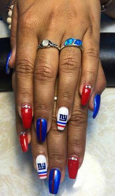 New York Giants Nails by Steph VS Nail Bar Landisville, PA Football Nail Designs, Football Nail Art, Fingernail Designs, Diy Nail Designs, Toe Designs, Nail Manicure, Nail Polish, Luv Nails, Light Nails