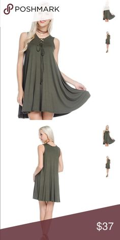 [bamboo] Super soft green lace-up dress that can also be worn as a tunic  Colors available: Olive Sizes: Small, Medium, Large Fabric:  Condition: New with tags  Please ask all questions before purchase.  Bundle Discount: 10% on 2+ items.  Typically ships within 24 hours.   Follow along on Instagram, Snapchat, Twitter & Facebook: @flowersandgray  xo, Jess Flowers and Gray Tops Tunics