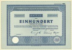 HWPH AG - Historische Wertpapiere - Süddeutsche Zucker-AG / Mannheim, Januar 1960, Blankett einer Aktie über 100 DM, o. Nr.