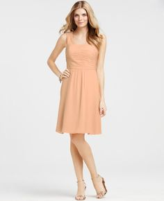 Silk Georgette Draped Back Bridesmaid Dress - Lyst