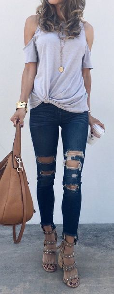 #winter #outfits gray cold-shoulder top, distress blue denim capri jeans, brown leather 2-way bag, and pair of brown leather gladiator sandals outfit