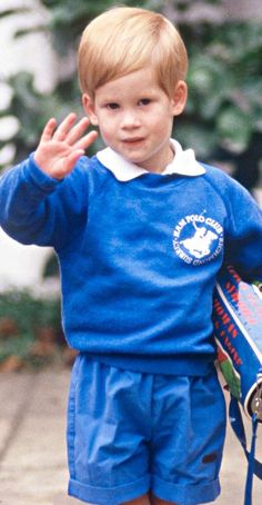 Prince Harry waves to camera on his first day of nursery school in west London's Notting Hill on 16 Sep. 1987