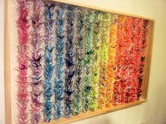 Japanese classes | thousand origami cranes. i like the Senbazuru display.
