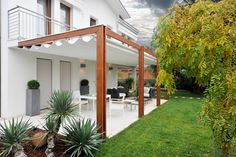 Pergola Ideas For Deck Timber Pergola, Curved Pergola, Pergola With Roof, Wooden Pergola, Pergola Lighting, Pergola Shade, Patio Roof, Backyard Patio, Courtyards