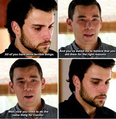 Ollie defending Connor