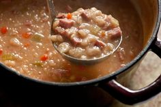 This white bean and ham soup uses a leftover ham bone or ham hocks, white beans, and vegetables to make a thick, hearty soup.