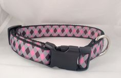 Classy Pink and Black Diamond Dog Collar - FREE Shipping by ThePawMaster on Etsy