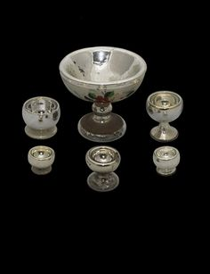 Mercury glass nut bowls, England, 19th century Various sizes