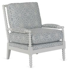 Check out this item at One Kings Lane! Bankwood Spindle Chair, Blue/White