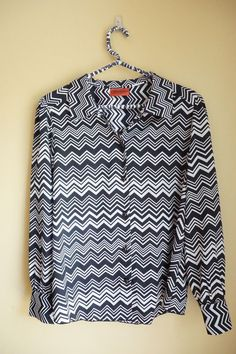 Missoni for Target Black and White Chevron Zig Zag Size L #MissoniforTarget #ButtonDownShirt #Career