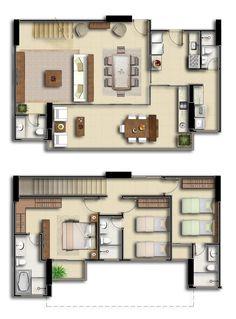Planta de casa duplex com dois quartos