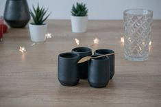 Espresso Shot, Candle Holders, Candles, Ceramics, Unique Jewelry, Handmade Gifts, Etsy, Vintage, Black