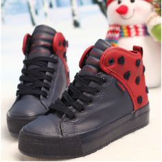 High Platform Velvet Dotted Flat Women's Shoes Sneakers