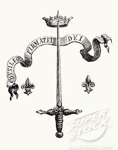 Coat of arms of the family of Joan of Arc. The blade of a silver sword, the point supporting a golden crown, and flanked with two Fleurs-de-lis, with the motto Consilio firmatei Dei (We Shall Remain Faithful).