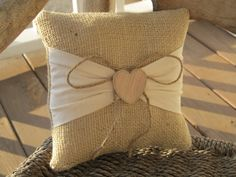 Burlap Ring Bearer Pillow...I would do canvas pillow with camo burlap for the lil fabric