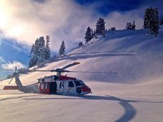Navy rescue helicopter landed in the snow